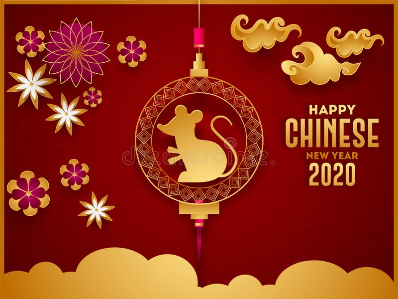 Happy Chinese New Year 2020 celebration greeting card design with holding rat zodiac sign, paper cut flowers. royalty free illustration
