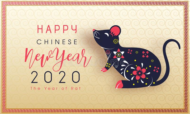 Happy Chinese New Year celebration greeting card design with rat zodiac sign on seamless swirl pattern background for 2020 The vector illustration