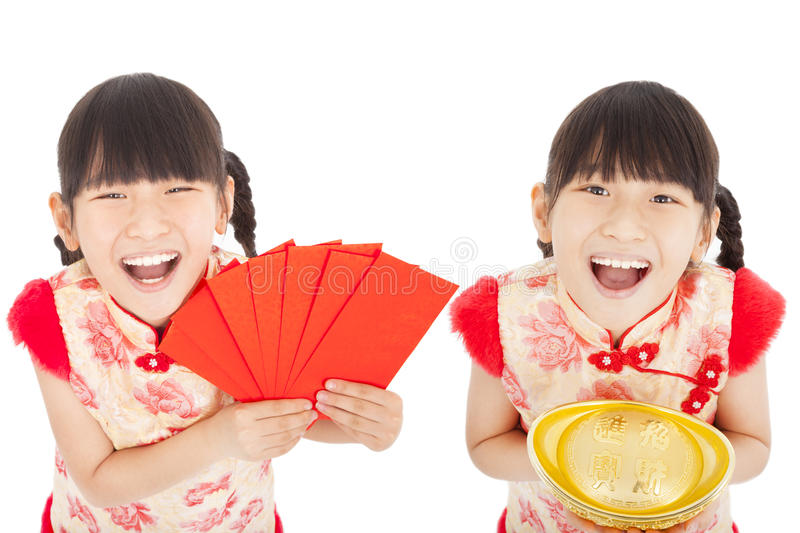 Download Happy  Chinese New Year. Child Showing Red Envelope And Gold Royalty Free Stock Images - Image: 36233309