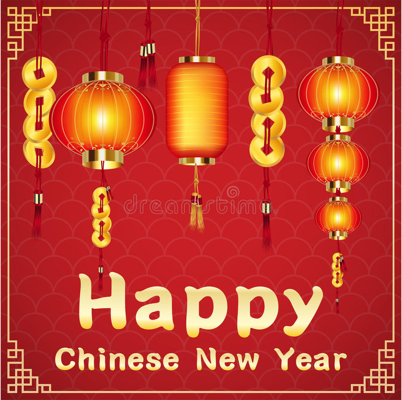 Happy chinese new year with a chinese lantern. A happy chinese new year with a chinese lantern vector illustration