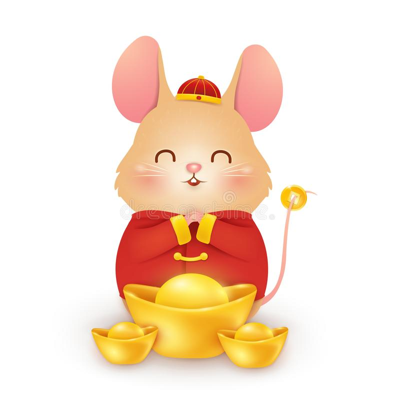 Happy Chinese New Year 2020. Cute cartoon Little Rat character design with traditional Chinese red costume and chinese vector illustration