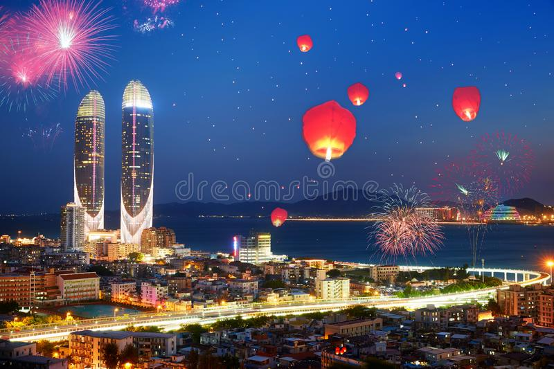 Happy Chinese New Year fireworks, Xiamen, Fujian, China. Xiamen city view with modern buildings and old buildings, celebrating Chinese New Year with firework and stock photography