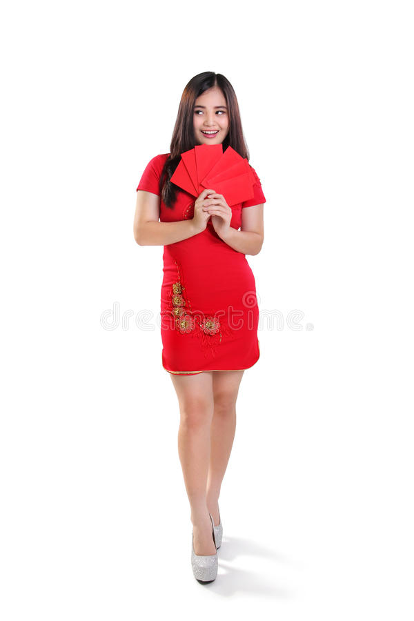 Happy Chinese New Year girl full length isolated stock photo