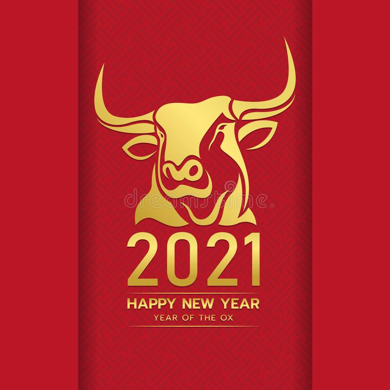Happy Chinese New Year 2021 With Gold Head Ox Zodiac Sign On Red Chinese Culture Texture Background Vector Design Stock Vector Illustration Of Icon Asia 169587763
