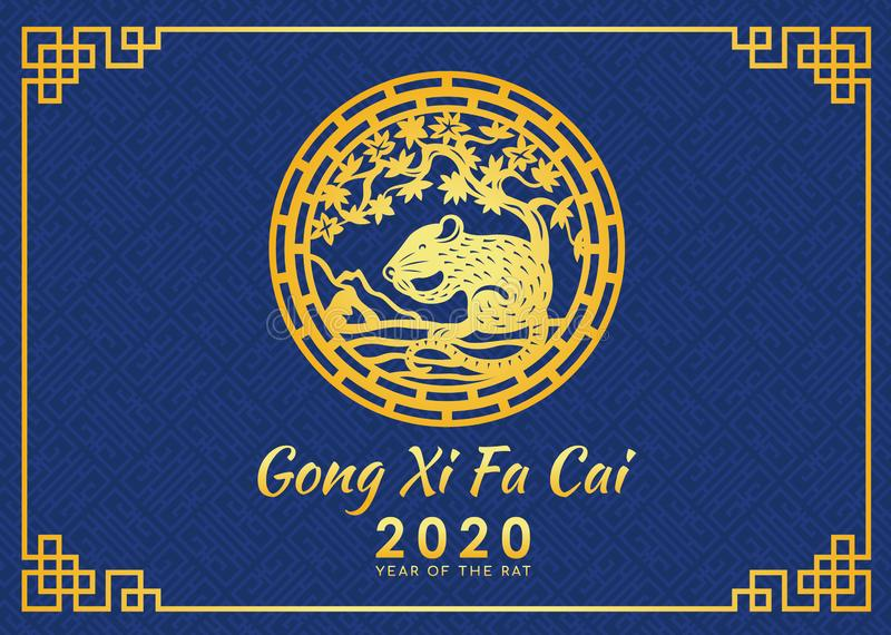 Happy chinese new year 2020 Gong Xi Fa Cai card with gold rat zodiac under tree circle sign and blue chinese texture background stock illustration
