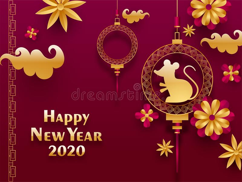 2020 Happy Chinese New Year greeting card design with hanging rat zodiac sign and paper cut flowers. stock illustration