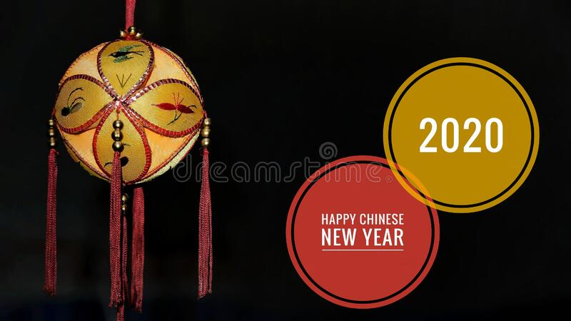 Happy Chinese New Year 2020 greeting card, with gold colored of lantern stock photography