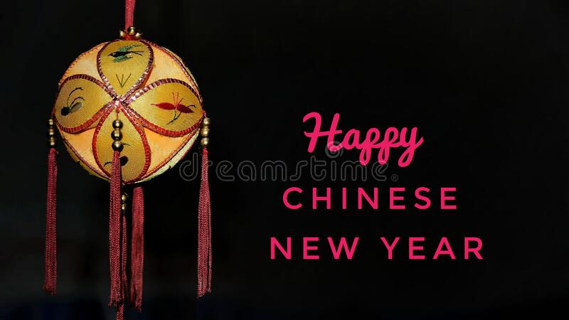 Happy Chinese New Year 2020 greeting card, with gold colored of lantern stock image