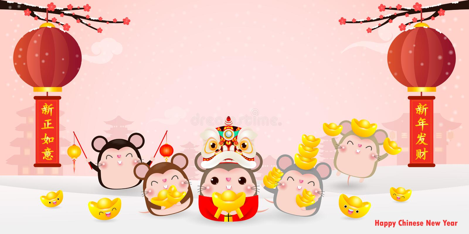 Happy Chinese new year greeting card. group of Little rat holding Chinese gold, Happy new year 2020 year of the rat zodiac. On red Background, Translation royalty free illustration