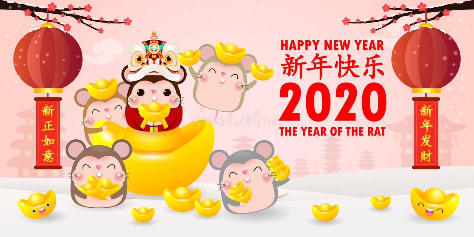 Happy Chinese new year 2020 greeting card. group of Little rat holding Chinese gold, year of the rat zodiac Cartoon isolated. Vector illustration, Translation royalty free illustration