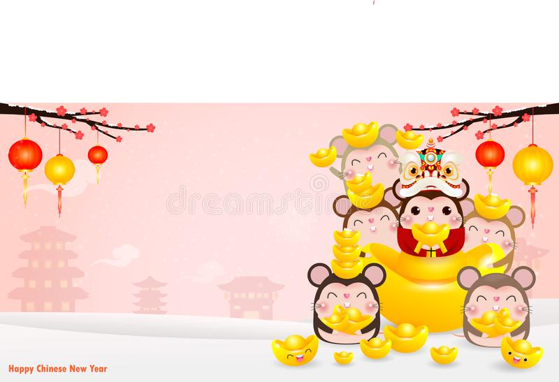 Happy Chinese new year greeting card. group of Little rat holding Chinese gold, Happy new year 2020 year of the rat zodiac. Isolated on Background vector illustration