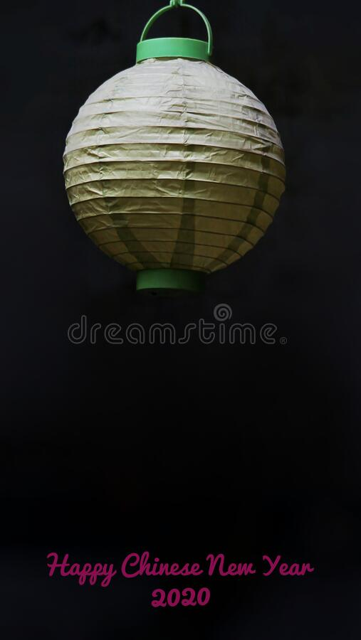Happy Chinese New Year 2020 greeting card, with a lantern stock photography