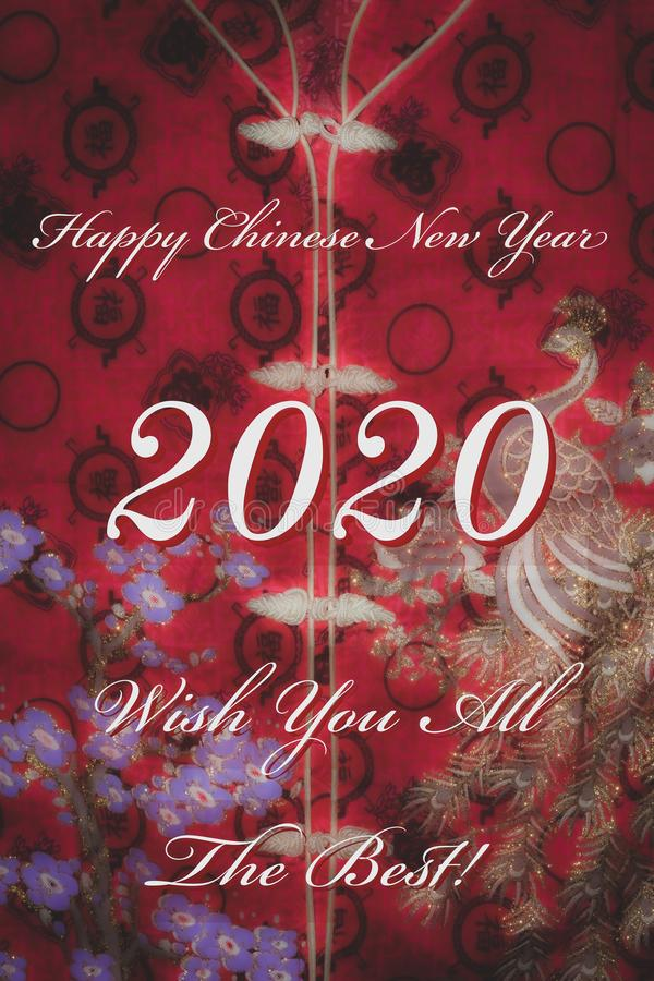 Happy Chinese New Year 2020 greeting card template with red oriental fabric background stock photos