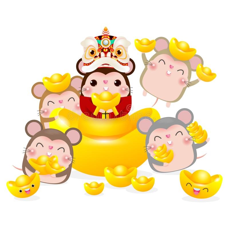 Happy Chinese new year, group of Little rat holding Chinese gold, Happy new year 2020 year of the rat zodiac isolated. On white Background stock illustration
