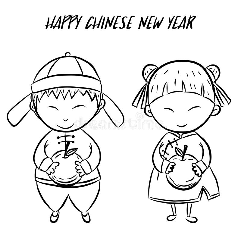 Drawing Lines Year : Happy chinese new year by hand drawing stock vector