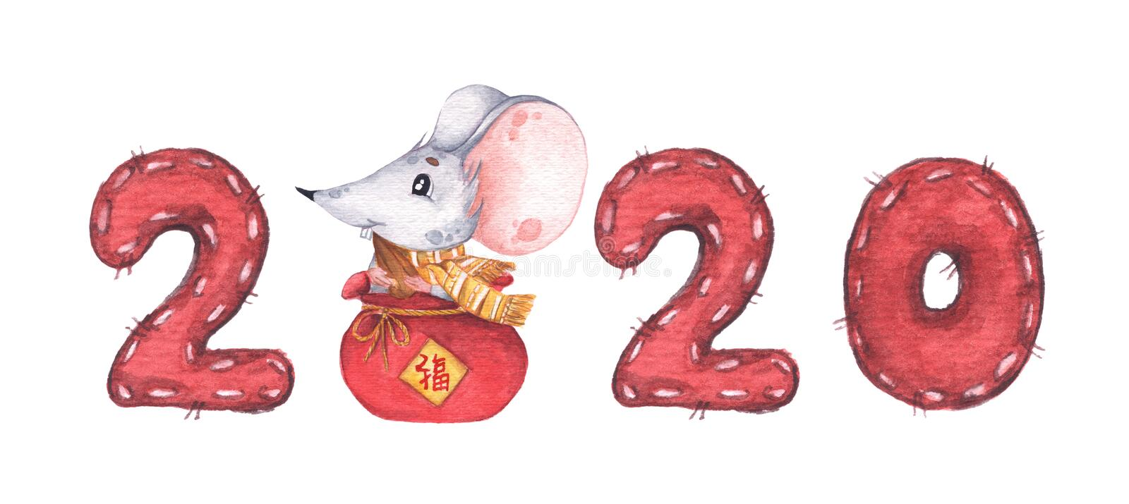 Happy Chinese New Year 2020 with little mouse sitting in a small red bag vector illustration