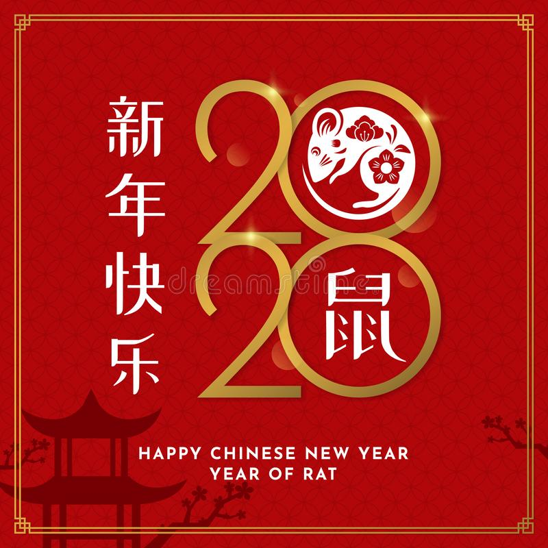 Happy Chinese New Year 2020 poster template design with decorative mouse vector illustration on red asian pattern background. royalty free illustration