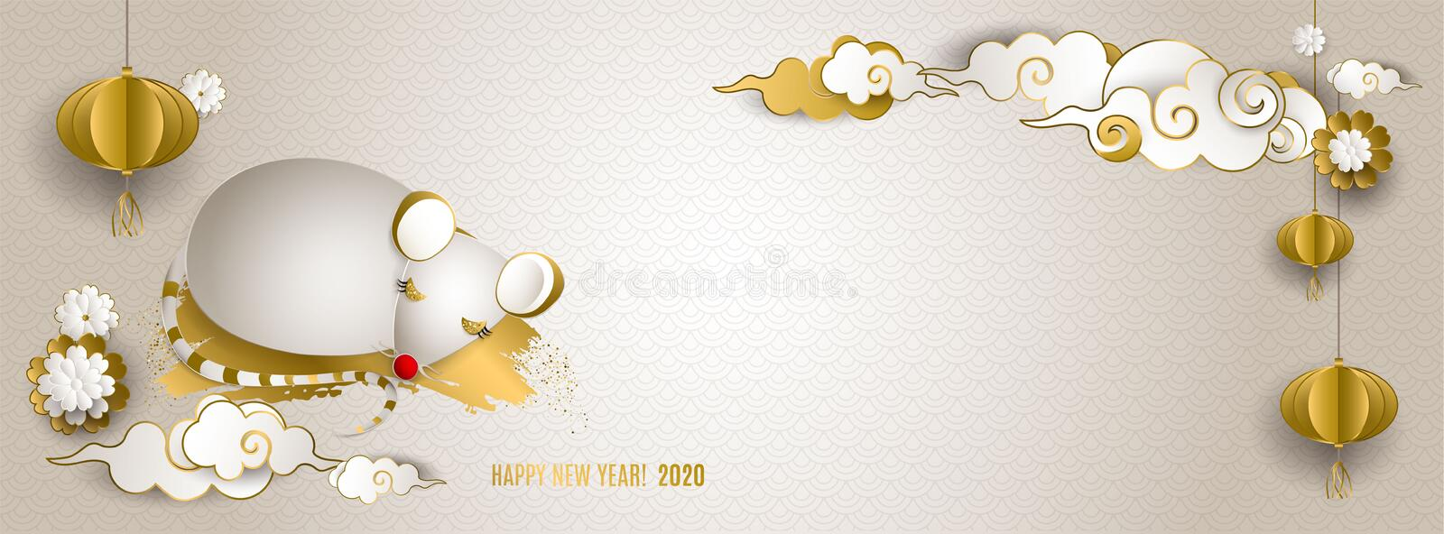 Happy Chinese New Year 2020 of rat. Banner: white and gold mouse, clouds, lanterns, flowers on light background. For stock photography