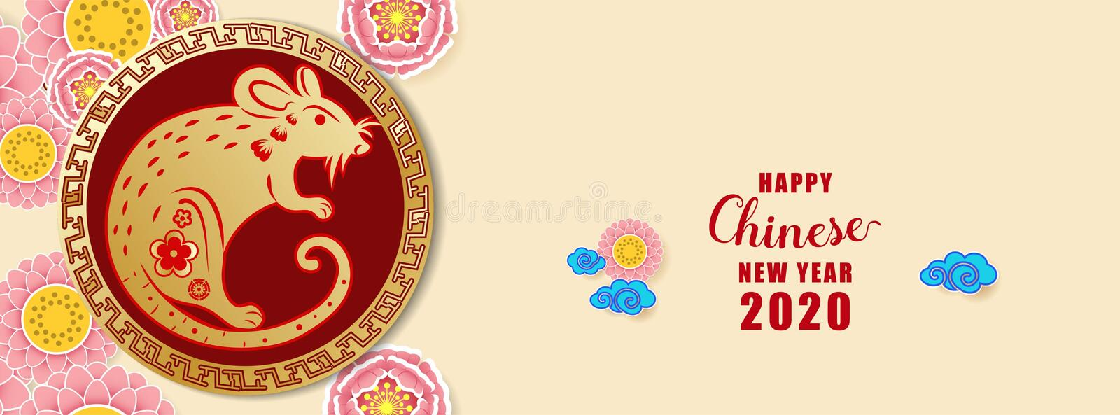 Happy Chinese new year 2020. Year of the rat. Colorful hand crafted art paper cut style. vector illustration