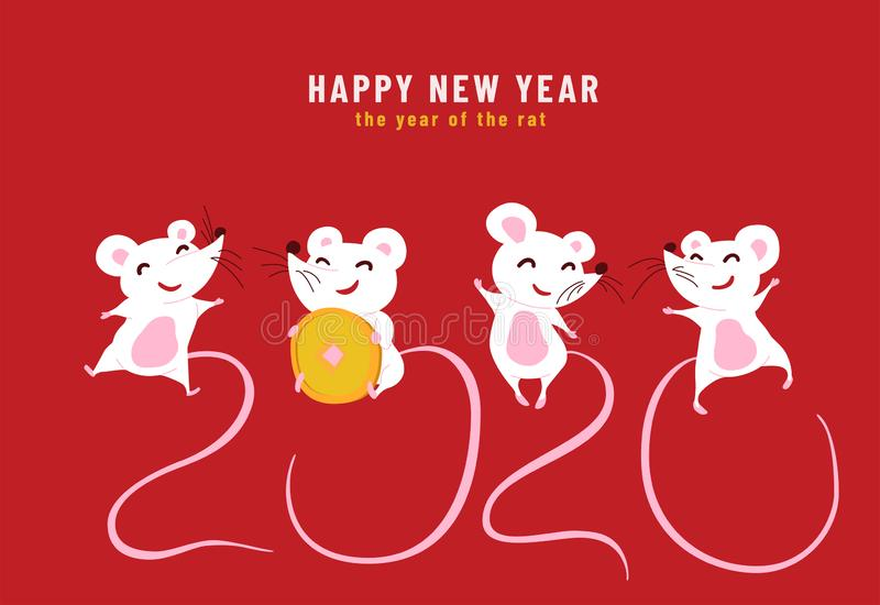2020 Happy Chinese New Year, the year of the rat. Design concept of funny greeting card with cute characters mouses and royalty free stock photography