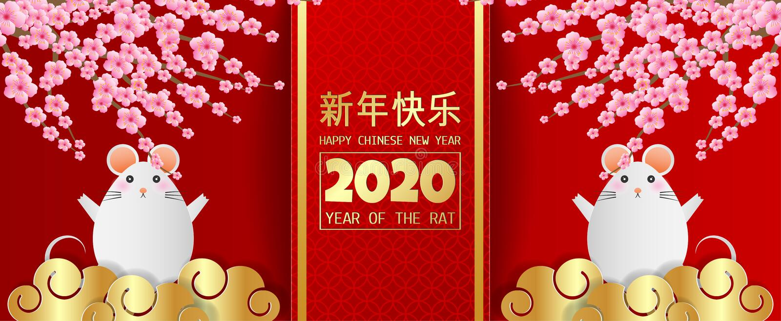 Happy chinese new year 2020 year of the rat greeting card with cute rat and cherry blossom on red background, Paper art style. royalty free stock image