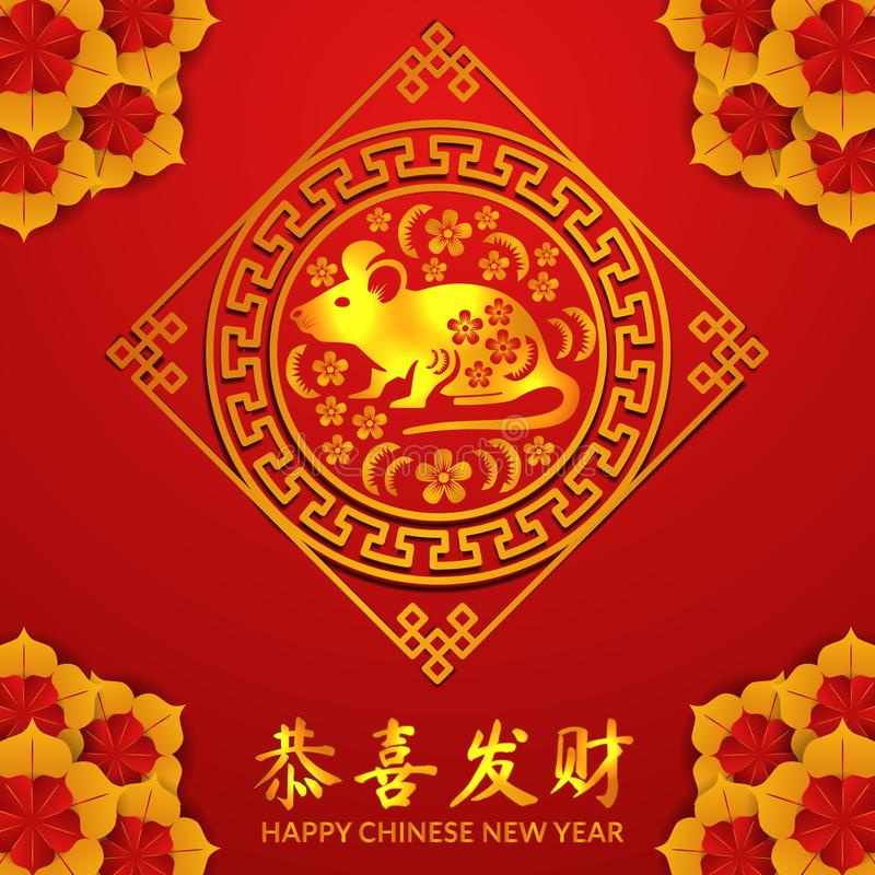 Happy chinese new year.2020 year of rat or mouse poster banner template vector illustration