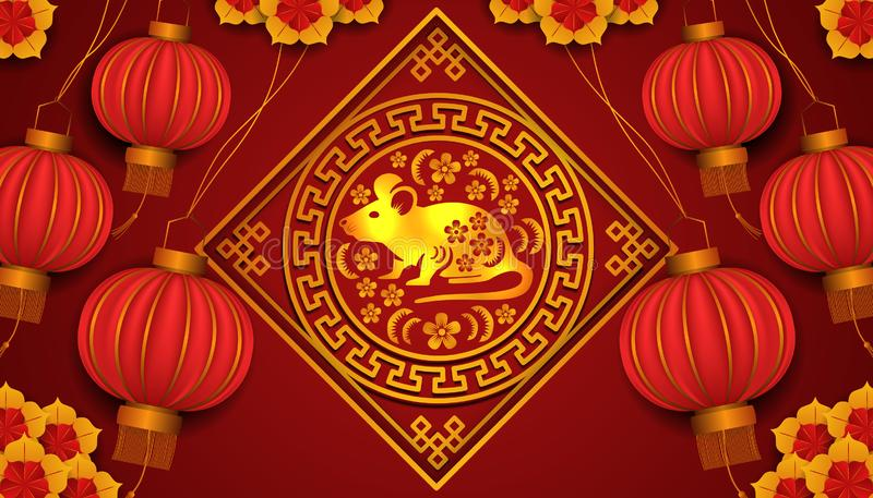 Happy chinese new year. 2020 year of rat or mouse. zodiac tradition golden pattern with flower. 3D hanging red lantern and flower. good fortune and lucky royalty free stock images