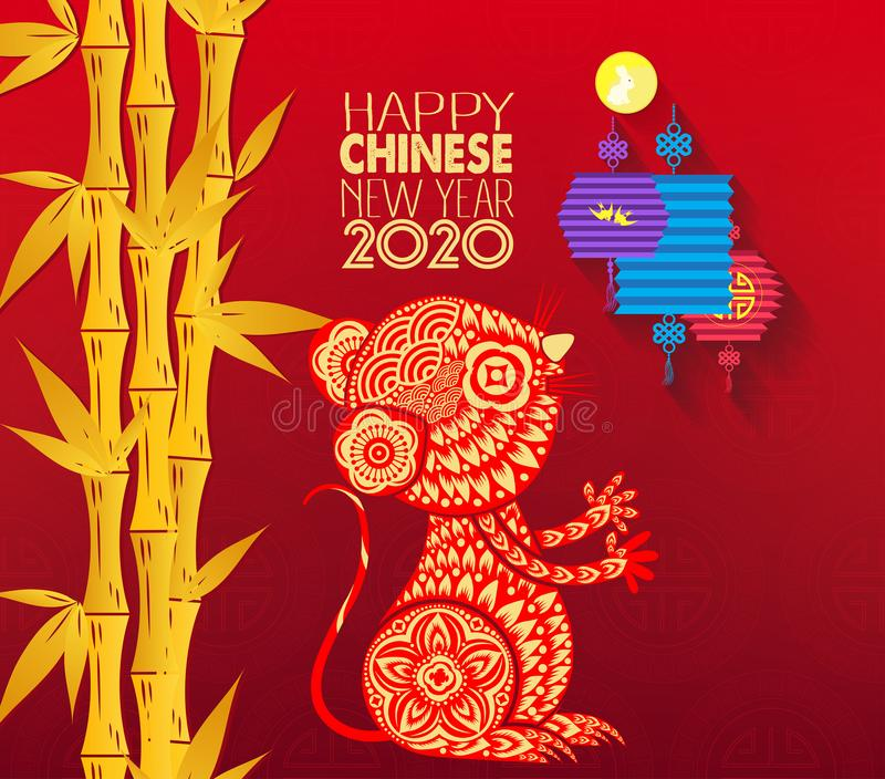Happy Chinese New Year 2020 year of the rat paper cut style. Chinese characters mean Happy New Year, wealthy, Zodiac sign for. Greetings card, flyers vector illustration