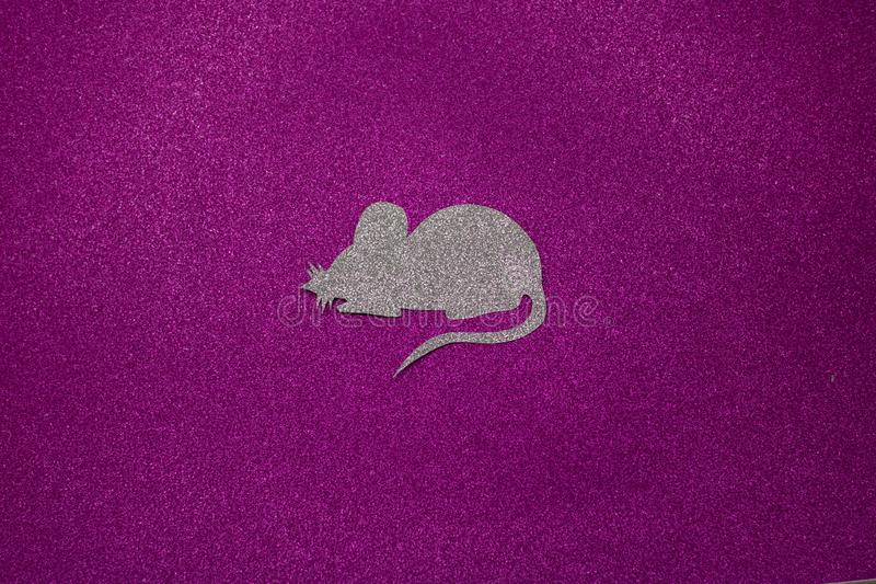 Happy Chinese New Year 2020 of the rat. Portrait of a cute white rat on a background of a Christmas tree in lights, a symbol of royalty free stock photos