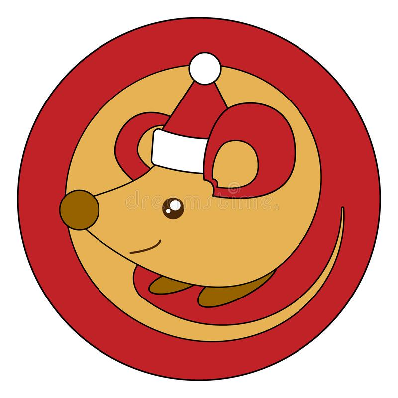 Happy Chinese New Year. 2020 year of the rat. Template for christmas red round ball or sticker. Golden mouse in santa claus hat in stock illustration