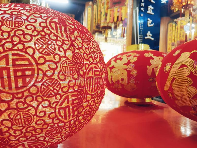 Happy chinese new year. Red lanterns for Chinese lunar new year decoration, photo shot in a chinese temple while they were preparing to decorate the temple for royalty free stock photo