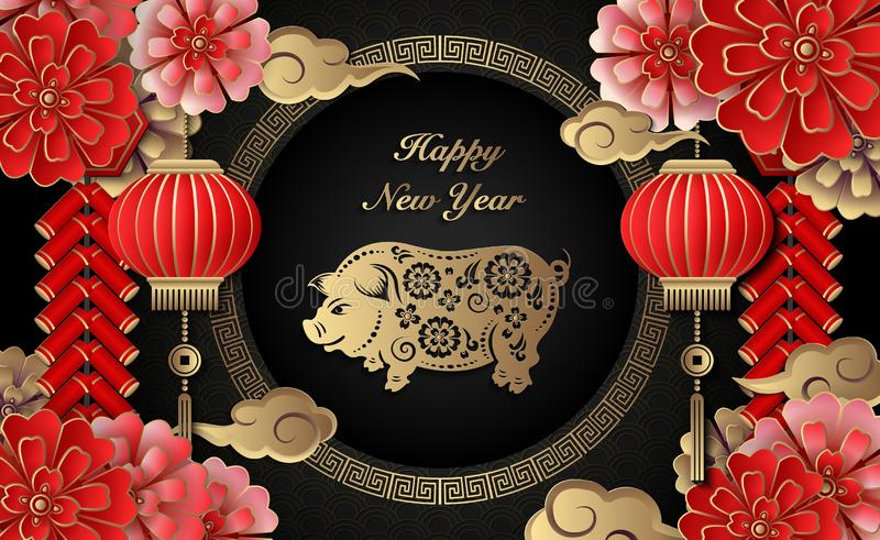 Happy Chinese new year retro gold relief flower lantern pig cloud firecrackers and lattice round frame vector illustration