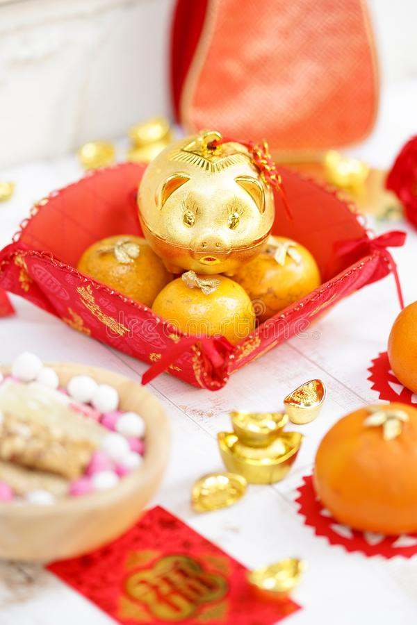 Happy Chinese New Year 2020. Selective focus on the golden piggy bank smile happily on top of oranges. Oranges and piggy banks are royalty free stock photos