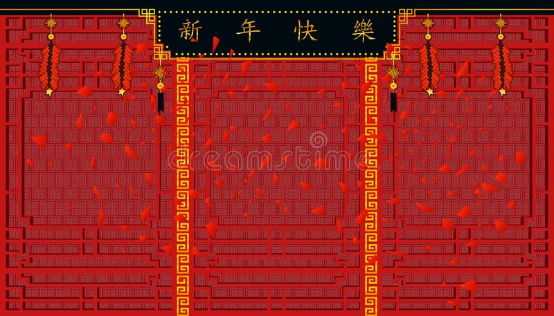 Happy Chinese New Year.sign of Xin Nian Kual Le characters for CNY festival and firecrackers on top and beautiful wall pattern. vector illustration
