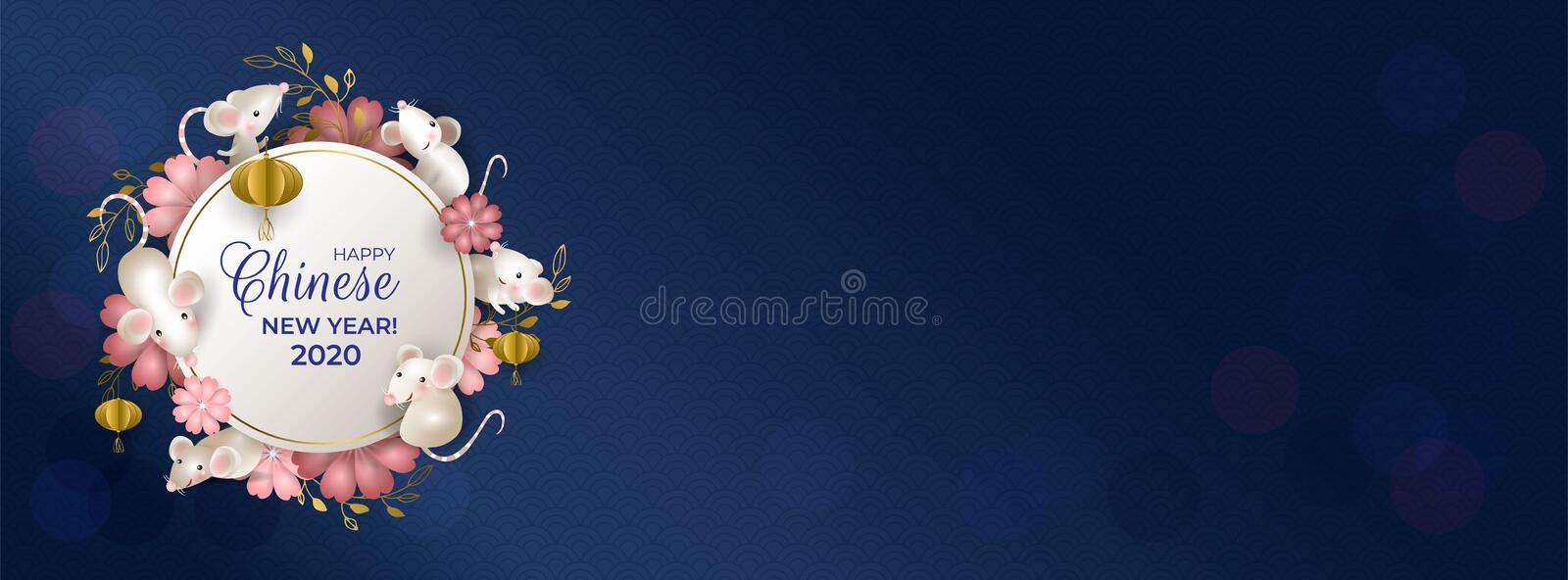 Happy Chinese New Year 2020. Six rats on white round signboard. White mouses, golden lanterns, pink flowers on blue background. stock illustration