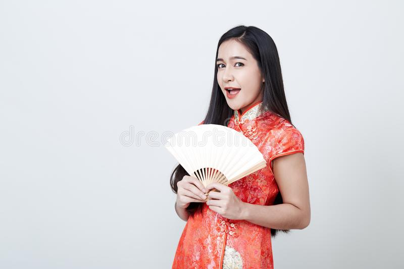 Woman Asian wearing red dress in Chinese New Year stock images