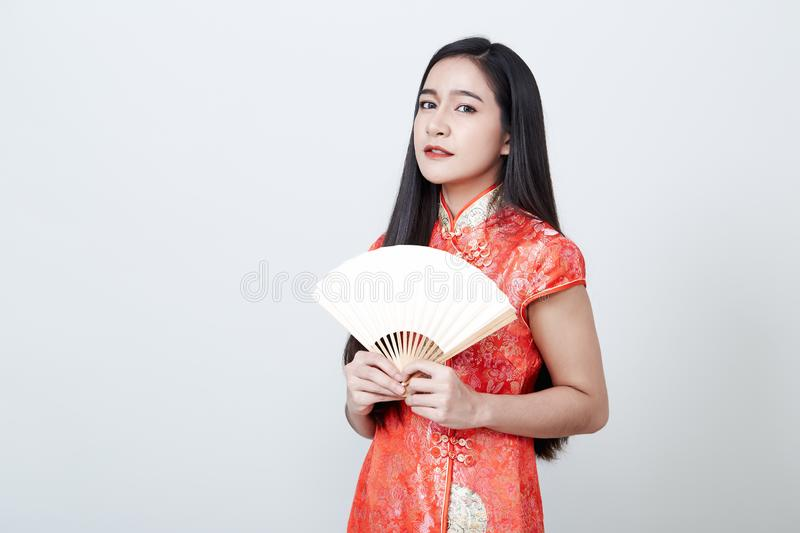 Woman Asian wearing red dress in Chinese New Year royalty free stock image