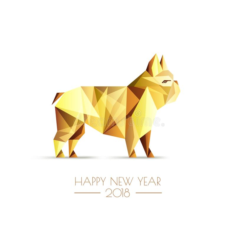 New Year 2018. Vector greeting card, poster with golden luxury low poly dog symbol. Gold french bulldog. Happy Chinese New Year 2018. Vector greeting card royalty free illustration