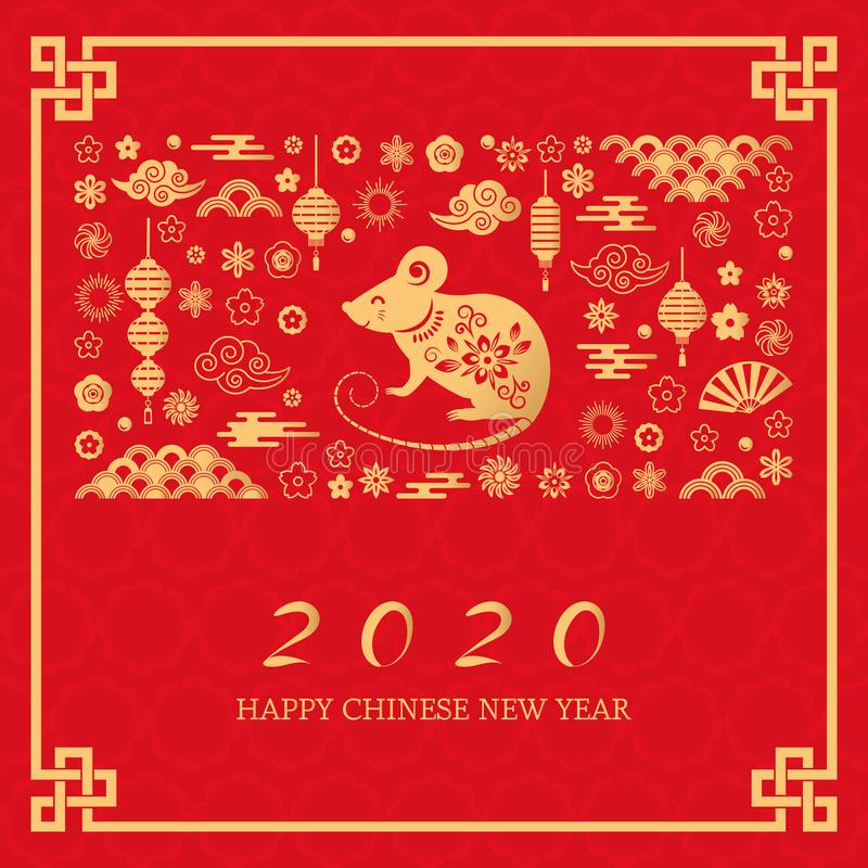Happy Chinese New Year. The white rat is the symbol of 2020 Chinese year of the new year. Template banner, poster vector illustration