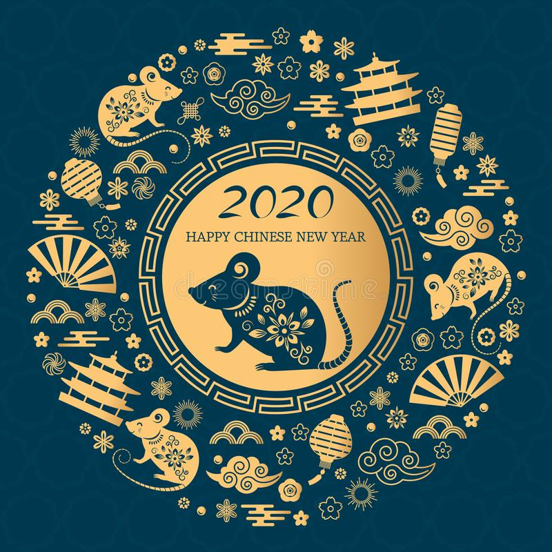 Happy Chinese New Year. The white rat is the symbol of 2020 Chinese year of the new year. Round golden vector stock illustration