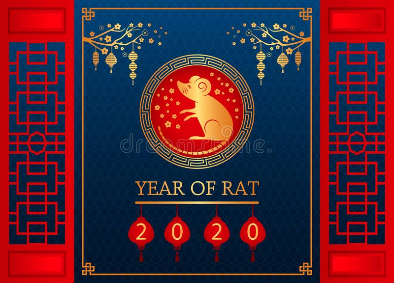 Happy Chinese New Year. The white rat is the symbol of 2020, the Chinese year of the new year stock images