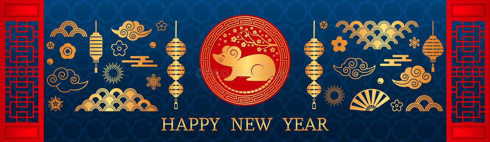 Happy Chinese New Year. The white rat is the symbol of 2020 Chinese year of the new year. vector illustration royalty free illustration