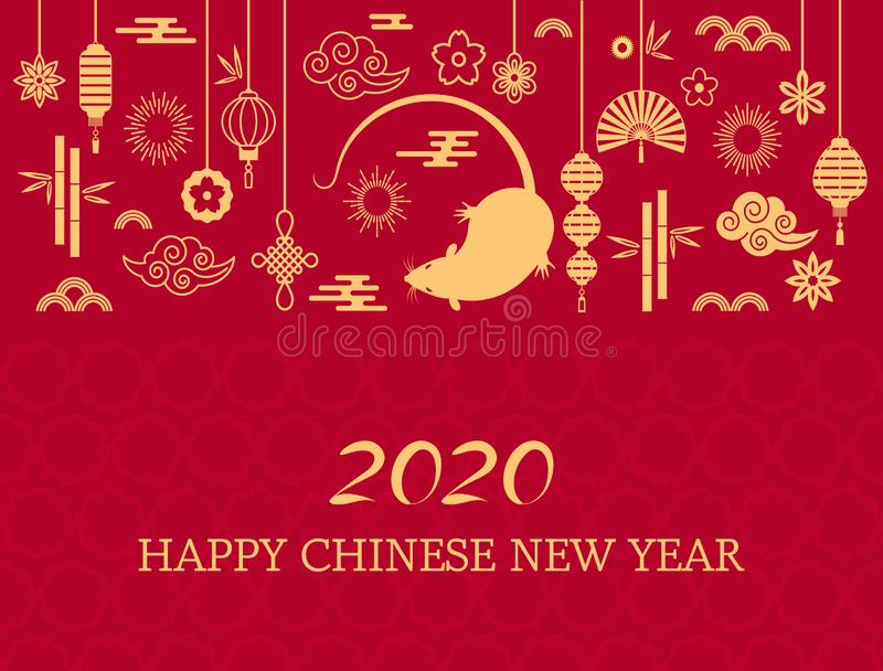 Happy Chinese New Year. The white rat is the symbol of 2020 Chinese year of the new year. vector illustration stock illustration
