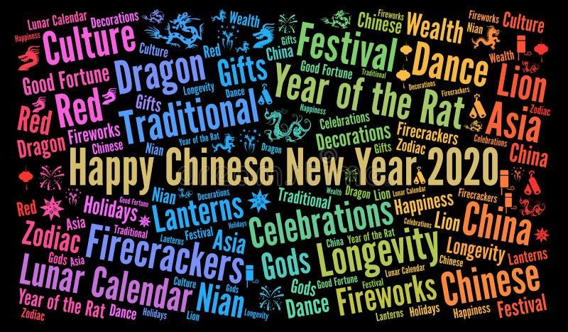 Happy Chinese New Year 2020 woordwolk stock illustratie