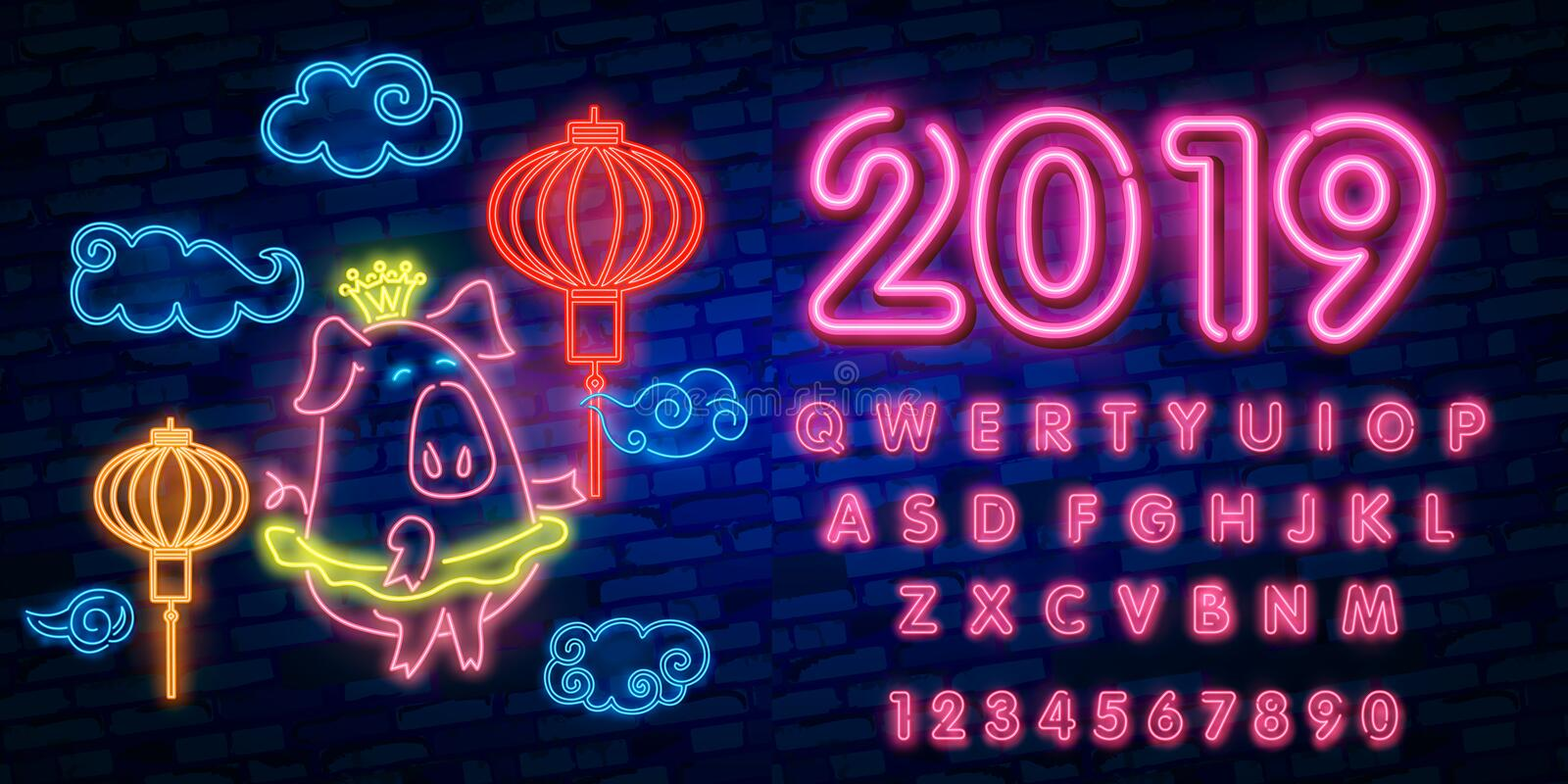 Happy Chinese New Year 2019 year of the pig greeting card in neon style. Chinese New Year Design Template, Zodiac sign for greetin stock illustration