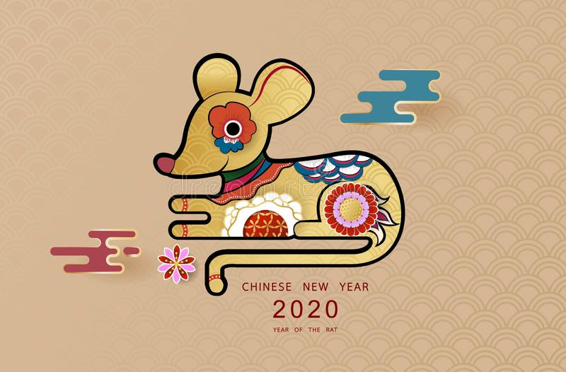 Happy Chinese new year 2020. Year of the rat. Colorful hand crafted art paper cut style. royalty free illustration