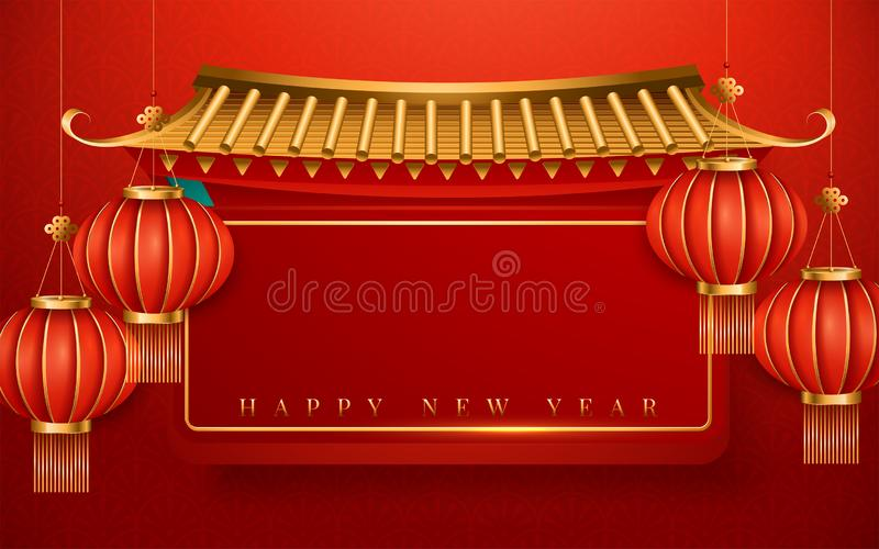 Happy Chinese New Year 2020. The year of the rat. Translation : Happy New Year. Vector illustration royalty free illustration
