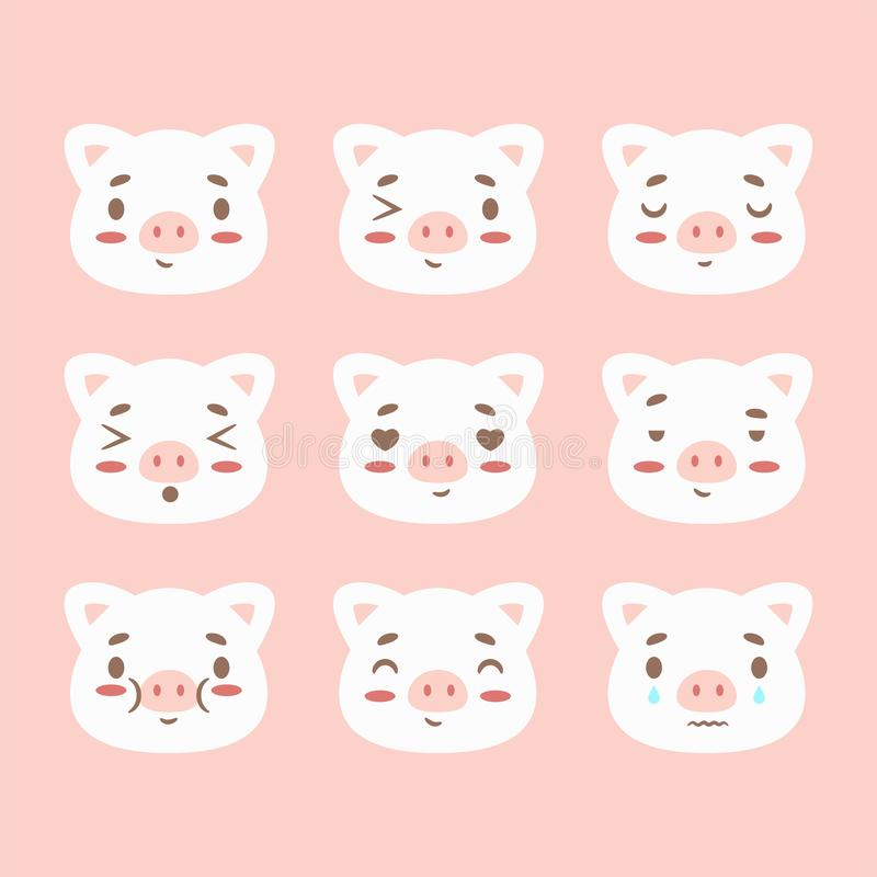 Happy chinese new year 2019 Zodiac sign calendar with pig emoji, emoticons pink colorful funny characters piglet. Vector royalty free illustration