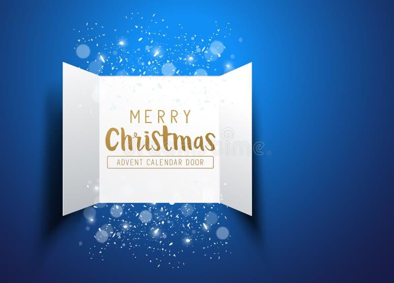 Happy Christmas Advent Calendar Doors. Christmas advent Calendar Doors opening with snowflakes and glitter on a blue background. Vector illustration vector illustration