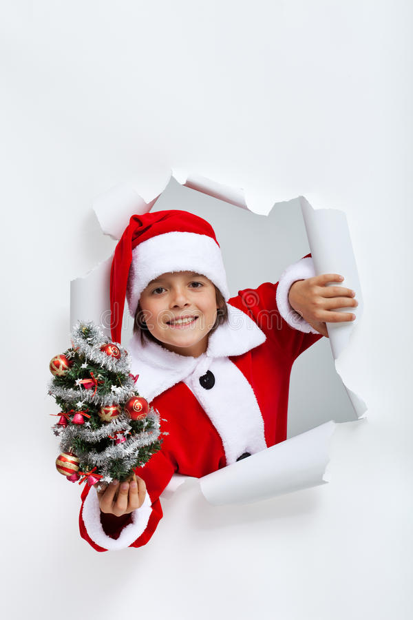 Happy christmas boy giving you a small decorated fir tree stock photography